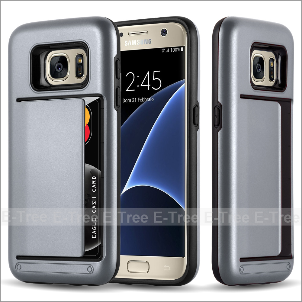 Shockproof Heavy Duty Hybrid TPU PC Wallet Card Mobile Phone Case Cover For Samsung Galaxy S7, For Samsung Galaxy S7 Back Cover