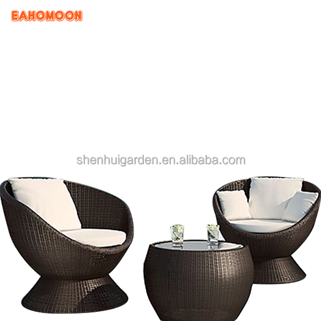 Multifunction Furniture Single Round Sofa Brown Rattan Balcony Modern  Coffee 2 Chairs Table Set