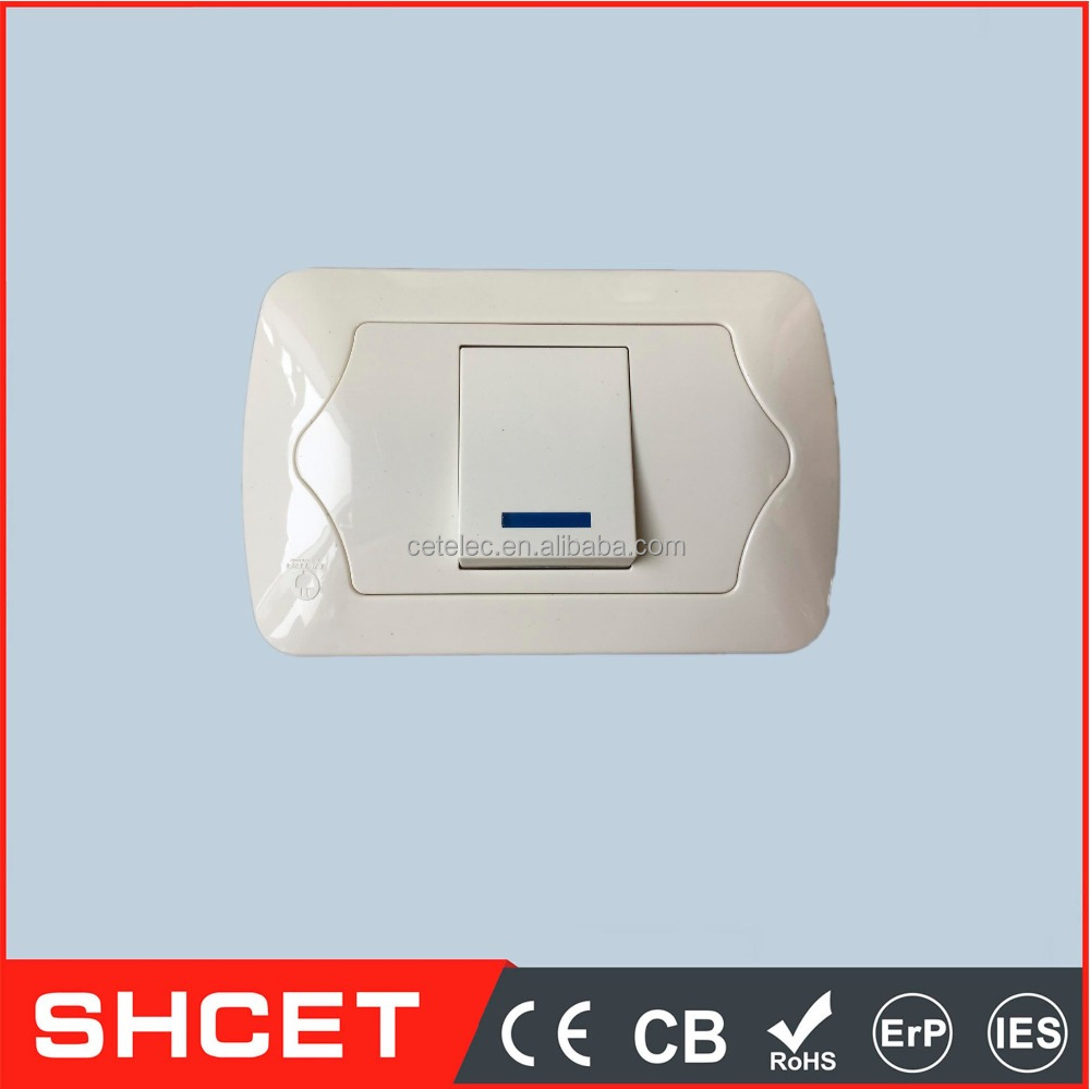 CET-EU-01Y 10A 110-250V-1 gang 1 way(middle rocker) switch with neon new design wall switch and socket