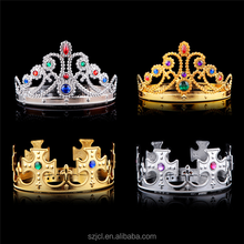 Fashion Accessories Adjustable Tiaras Gold Silver King Queen Princess Crown For Cosplay Party