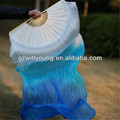 Real Silk Fan Veils, Pure Silk Material, 180*90CM, WHITE/TURQUOISE/BLUE, Belly Dance Fans