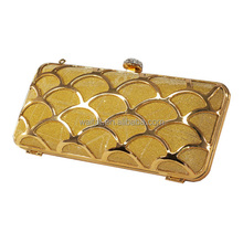 Luxurious Golden Women's Special Occasion Hard Shell Evening Clutch