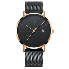 Custom rose gold case with black mesh strap relojes hombre quartz watch with sapphire glass