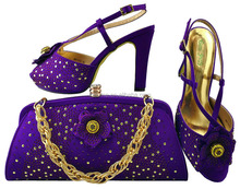 Purple Color Ladies Italian Evening Shoes With Matching Bags 2018 New Fashion High Quality Women Rhinestone Sandals MM1040