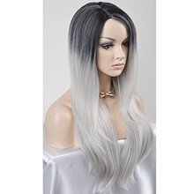 Ombre Gray 2 Tones Synthetic Lace Front Wig Dark Roots Long Natural Straight Silver Grey Replacement Hair Wigs For Women Heat