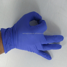 Cheap and long disposable examination nitrile gloves purple powder free