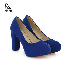 Cute multicolor comfortable round head PU shallow chunky mid heels court ladies wedges dress shoes women