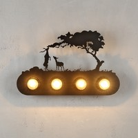 American Vintage Iron Deer Wall Lamp Creative Wall Sconce for Bookstore Bar Cafe Home Decor