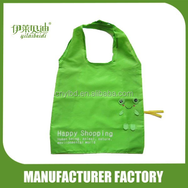 Wholesale Supply Stock Cheap Cute Green Animals Shaped Folding Shopping Bag For Promotion/Custom Foldable Reusable Shopping Bag