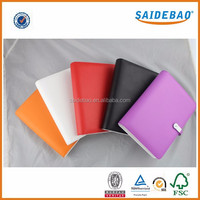 customized size PU leather loose- leaf binder book cover with power bank for school and office