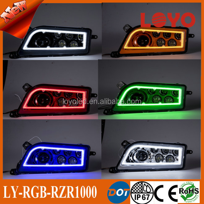 Newest RGB RZR <strong>1000</strong> headlight assembly with halo for Polaris RZR <strong>1000</strong> for ATV UTV