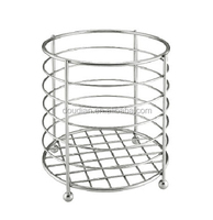 Movable Round Mesh Laundry Basket Stainless Steel Holder