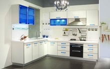 Modern modular kitchen designs light color kitchen cabinet combination made in china