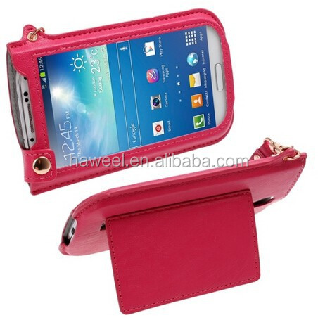 Touch Screen Vertical Style Leather Case with Lanyard & Holder for Samsung Galaxy S IV / for i9500 (Magenta)