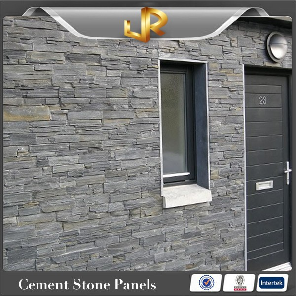 Stacked natural stone wall covering slate