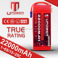Upower 6 cell 22.2v 22000mah lipo battery 36v 20ah Car Plane Helicopter Boat