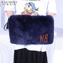 High quality women fashion real rex rabbit fur handbag for ipad laptop