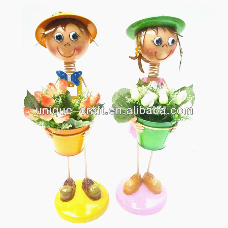 boy and girl flower pot plant