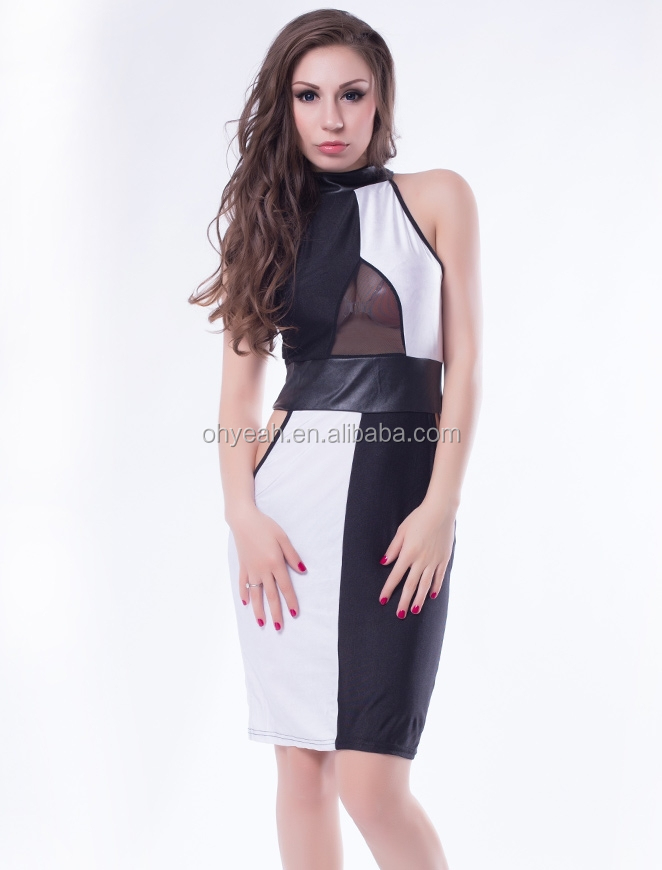 New fashion contrast colorblock cut-out hot sexy latest dress designs ladies suit