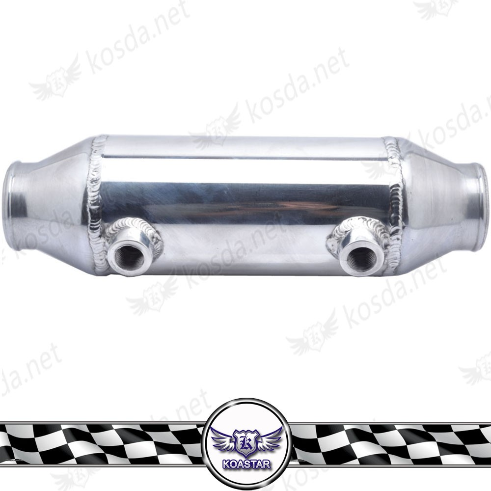 "Universal 4"" x 8"" Long Flow Aluminum Barrel Style Intercooler, Intercooler Turbo With Inlet/Outlet 2.25''"