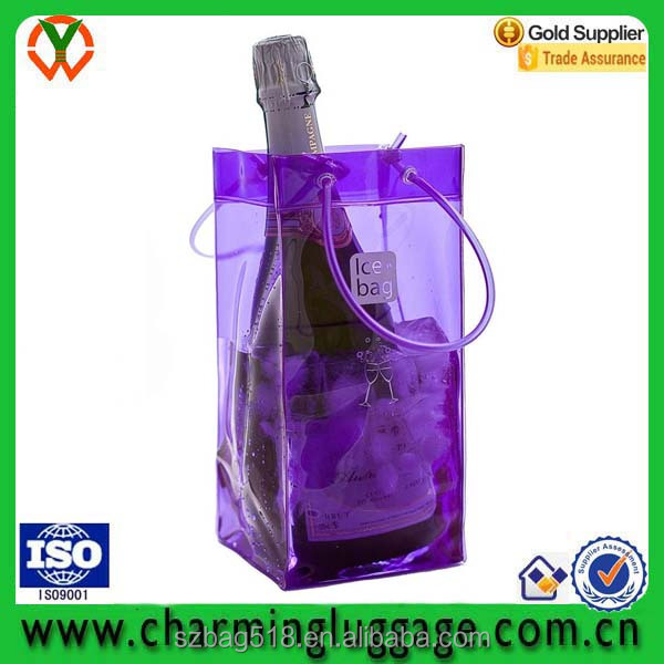 custom color portable handle transparant pvc plastic ice wine pouch cooler bag