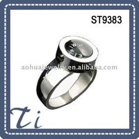 Comfort fit Stainless steel diamond steel finger ring