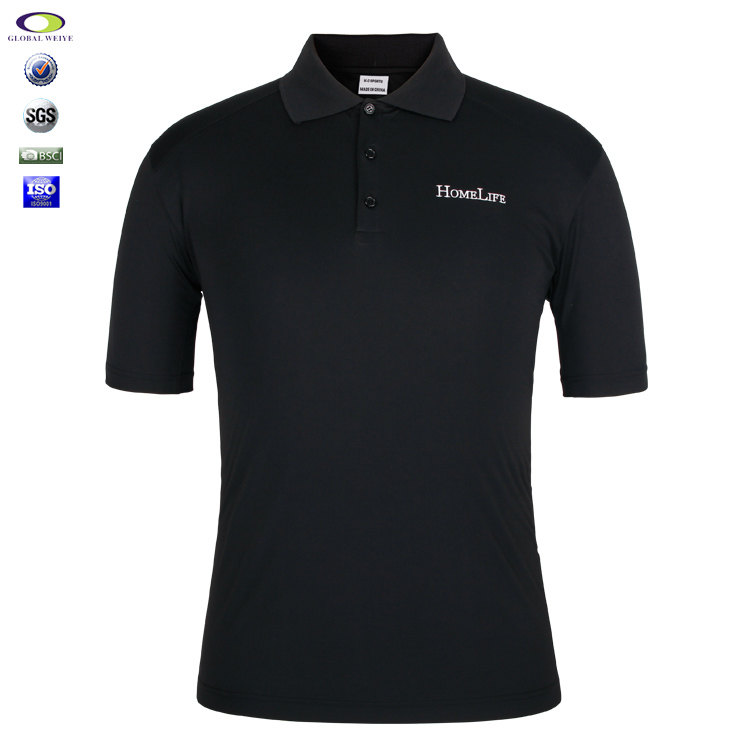 Custom Brand Black Polo Shirts Embroidery Cotton Polo T-Shirt