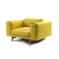 yellow leather living room wood frame cozy sofa