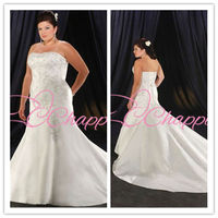 new fashion strapless mermaid plus size wedding dresses bridal gowns