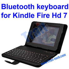 "Factory Price !!! Wireless Bluetooth Keyboard Leather Cover Case for Kindle Fire HD 7"" Tablet (Black)"