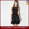 2016 Girls Elegant Slim Waist Hollowed Out Lace Stitching Spaghetti Strap Short Evening Dress