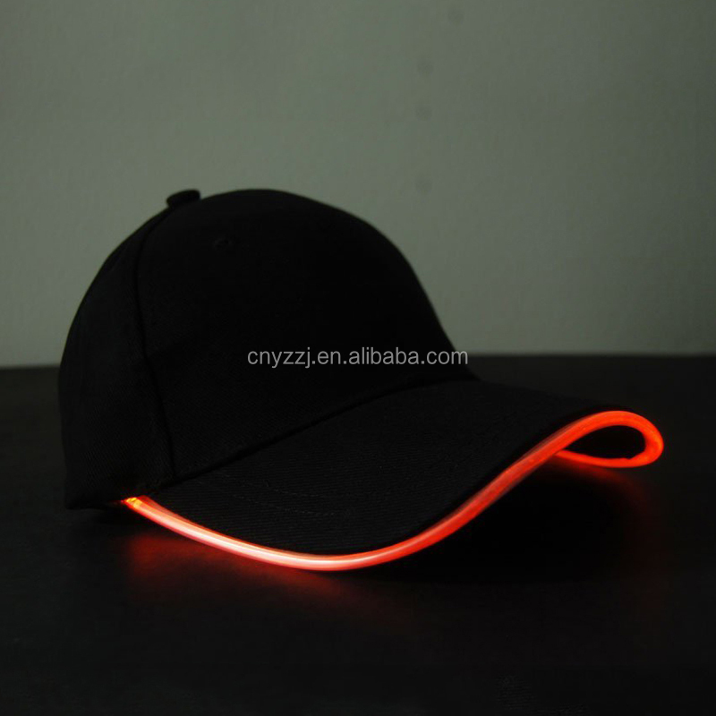 Black Fabric LED Lighted Glow Hat In The Dark- Orange
