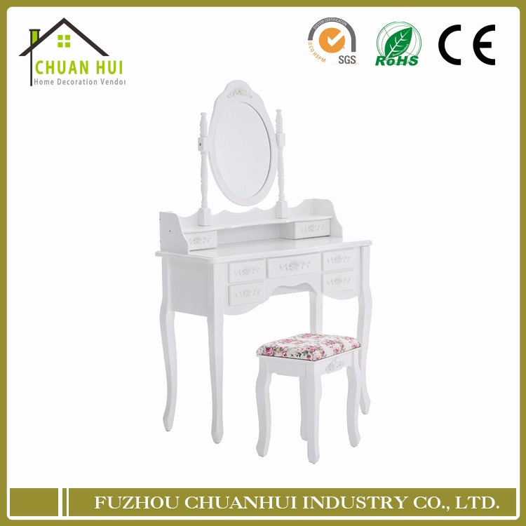 Mirror and dresser , make up white dressing table furniture