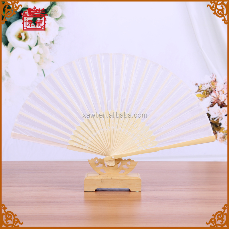 Customize Logo Silk Folding Hand Fans for wedding souvenirs guests GYS917-1