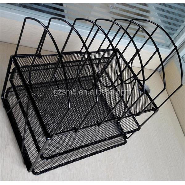 Wholesale Factory Cheap Price Black Foldable Metal Wire Mesh Office Desk Organizer