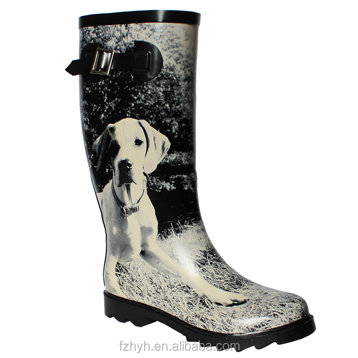 Women Rubber Rain Boot Dog