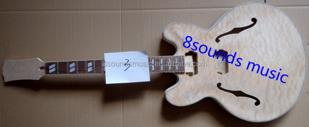 wholesale 335 jazz guitar kits high quality DIY guitar 339 DIY unifinished kit F Hole Hollow Electric Guitar Kits