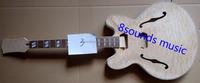 wholesale 335 jazz guitar kits high quality DIY guitar 339 DIY unifinished kit F Hole Hollow Electric Guitar Kits
