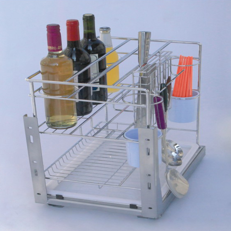 Kitchen cabinet chopstick, knife and bottle storage wire basket