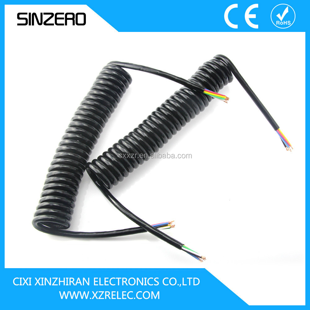 Spring loaded cable/Trailer plug with spring cable/Seven Core Cable with Widely Used in Motor Cycles and Trailer