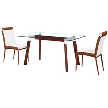 Factory Directly Sell wooden frame glass top dining table with designs
