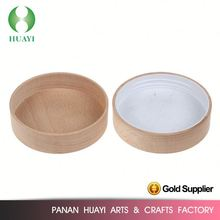 Glass candle jar Beech wood cover lid with White plastic cap 100mm