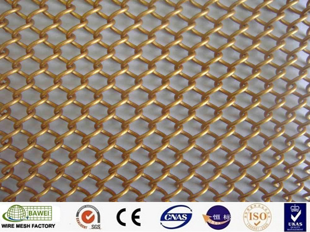 Beautiful brass metal cubicle curtain decorative mesh