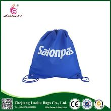Promotional durable handle shopping bag blue color drawstring non-woven bag
