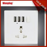 Factory free sample 3 USB 5V/2.1A 1 gang 1 way wall switch