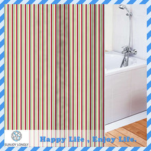 Waterproof Peva Material Colorful Lines Printing Shower Curtain