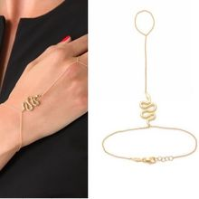 Gold-tone Metal Simple charm Snake Slave Chain Hand Harness Bracelet Wholesale Price