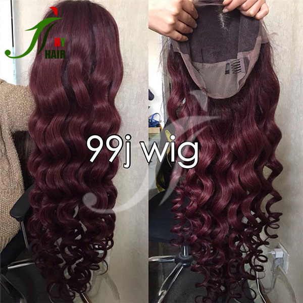 Cheap lace front wigs red 99J body wave full head thick full lace wig