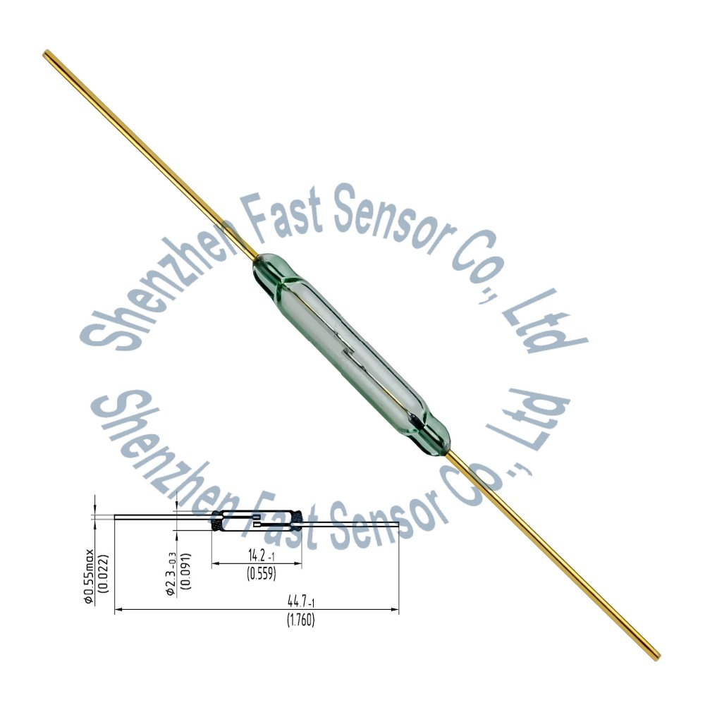 <strong>2</strong>.2x14mm good cheap normal open N/<strong>O</strong> SPST <strong>2</strong> leads 10watt 12V MKA14103 Magnetic Actuated Gold Contact Green Glass Dry Reed Switch