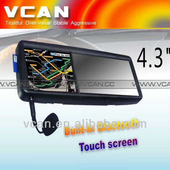 "GPS 4.3 rear view touch monitor mirror screen GPS navigation bluetooth game Win ce 5 7"" inch gps mediatek mt3351"